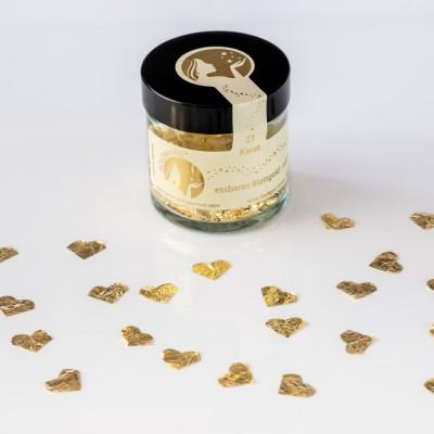 Blattgoldflocken Goldmarie Herzen 23 Karat - 8 mm - in verschiedenen Stückzahlen