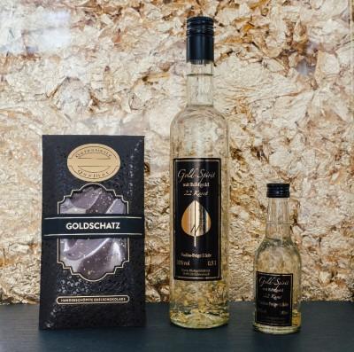 Exklusives Geschenkset klein - Vodka-Feige Likör und Edelschokolade Goldschatz