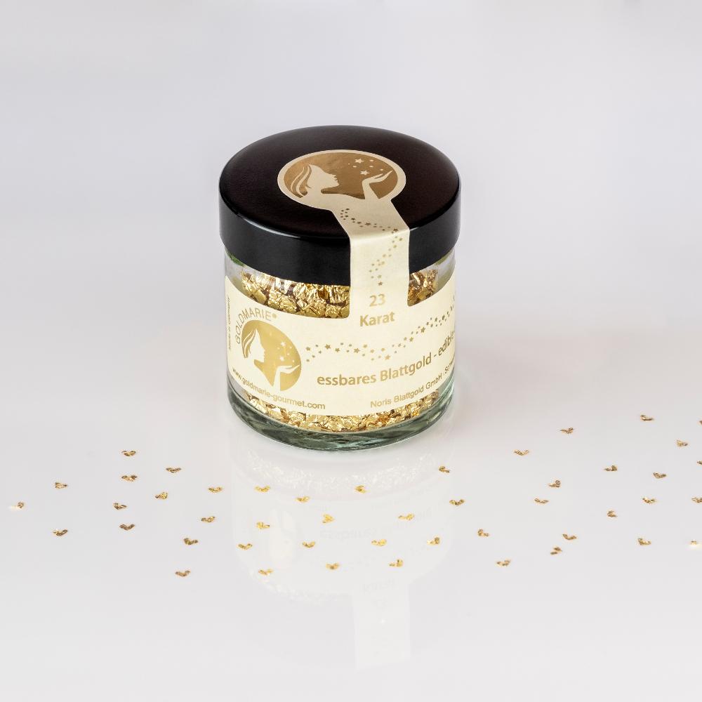 Blattgoldflocken Goldmarie Herzen 23 Karat - 3,5 mm
