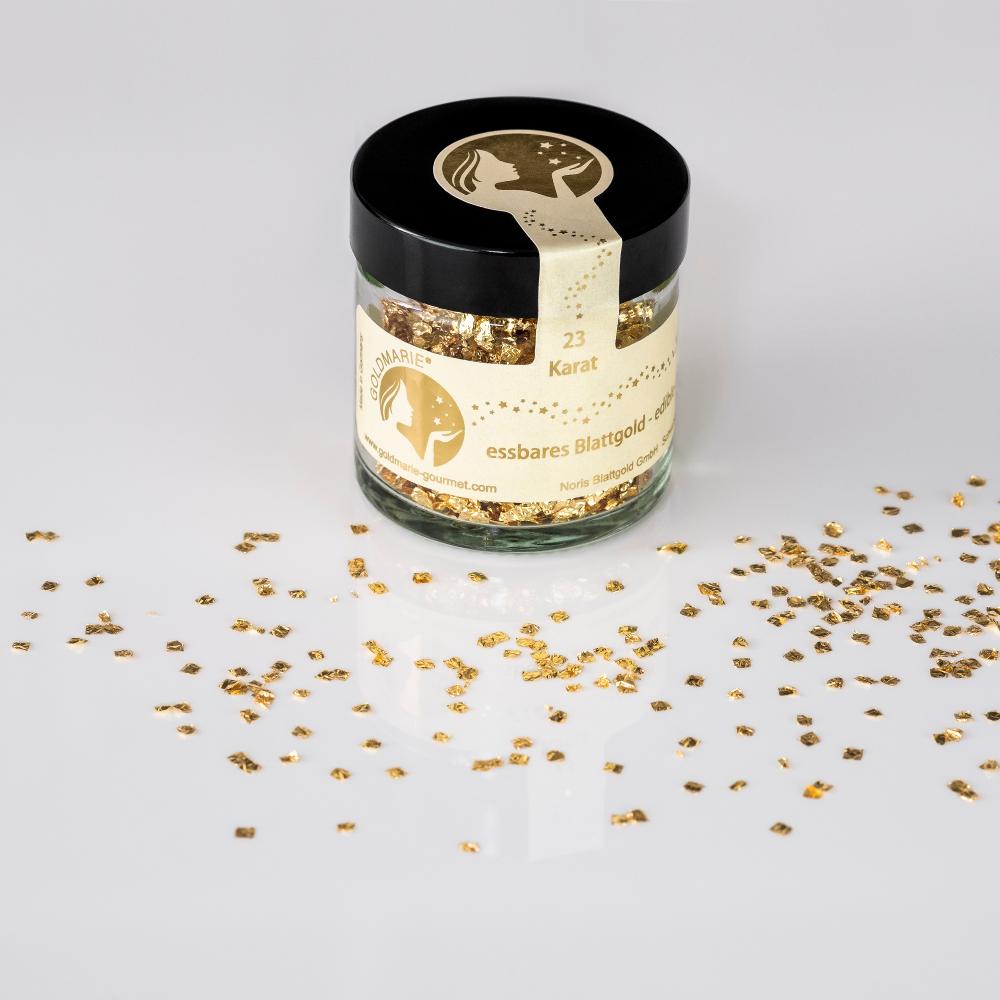 Blattgoldflocken Goldmarie Quader 23 Karat - 3 mm