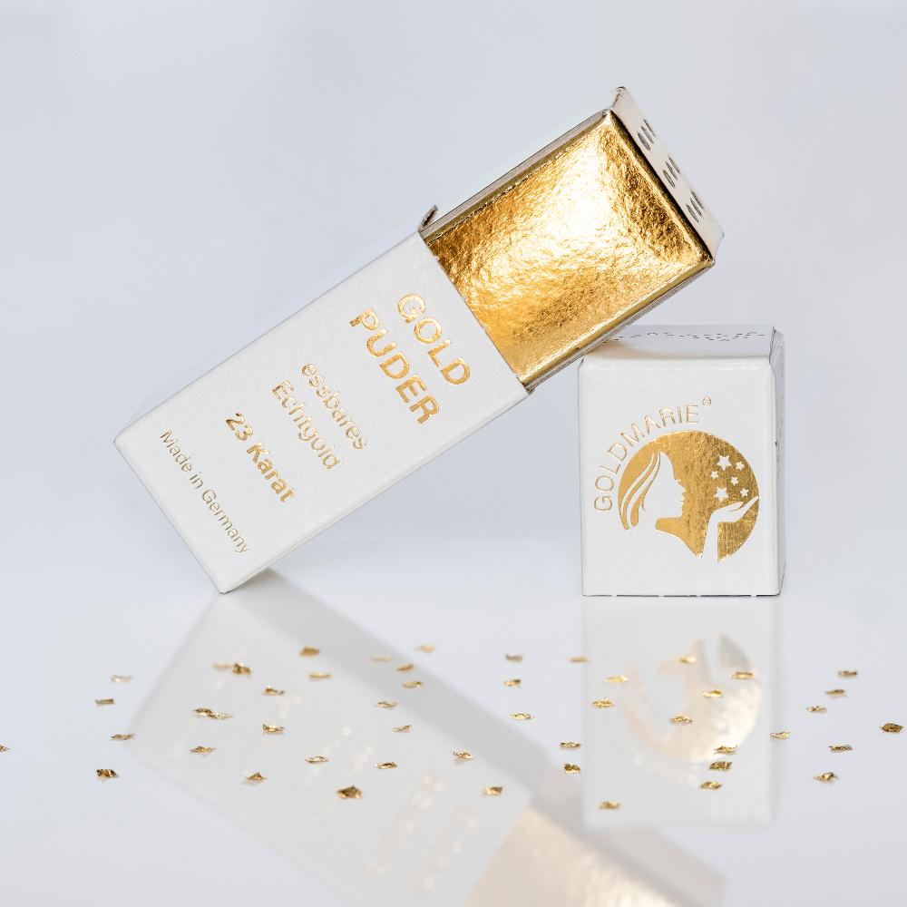 Goldstreuer Goldmarie Quadrate Blattgoldflocken - 3 mm - 23 Karat -