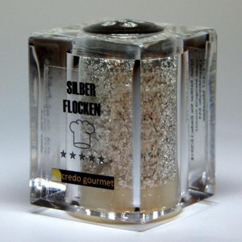 Silberstreuer Deluxe, reines essbares Silber – 100 mg Silberflocken